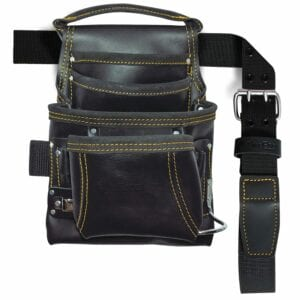 10-Pocket Carpenter's Top Grain Leather Nail and Tool Bag with Belt